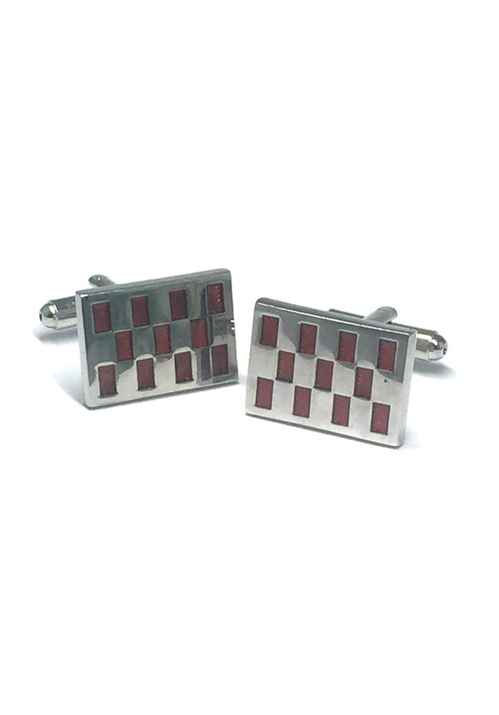 Red Patterned Rectangle Cufflinks