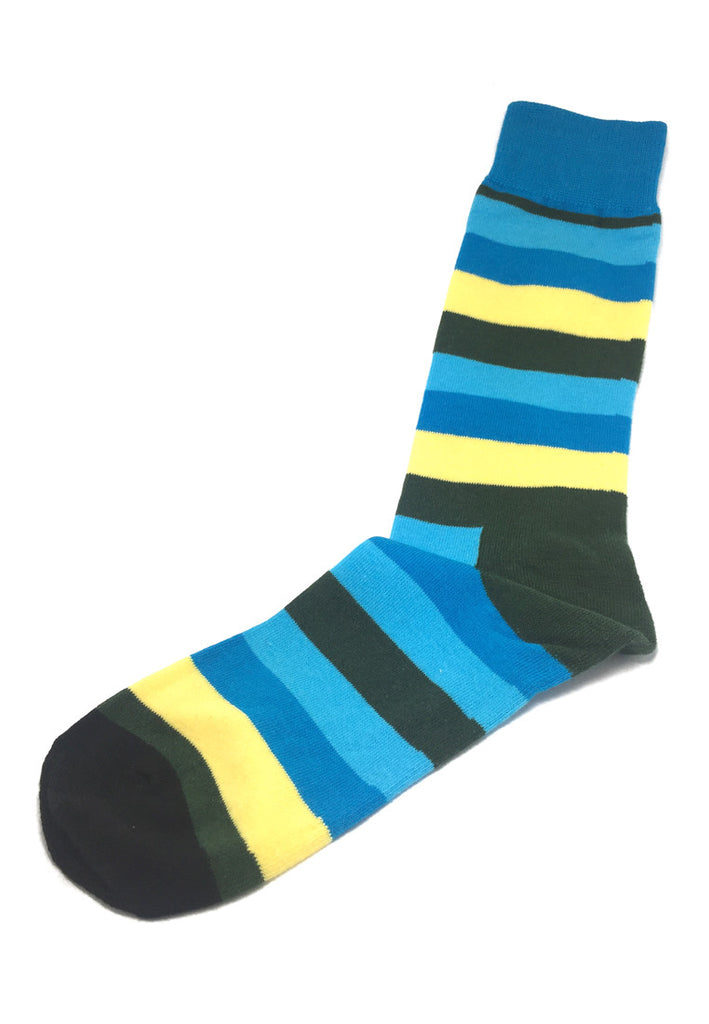 Streaks Series Black, Yellow, Blue and Green Stripes Socks