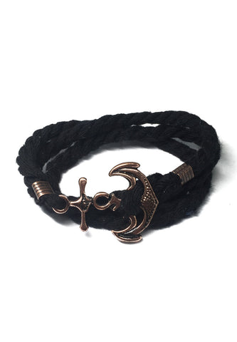 Kedge Series Black thick Nylon Strap New Brass Anchor Design Bracelet