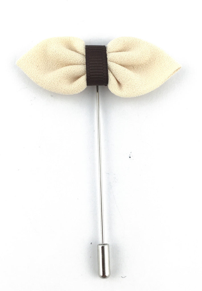 White Fabric Bow Lapel Pin