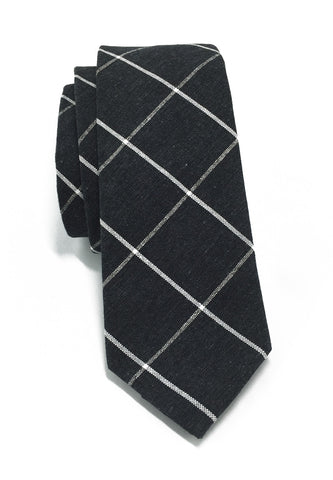 Daffy Series Gunmetal Grey Checked Skinny Viscose Tie
