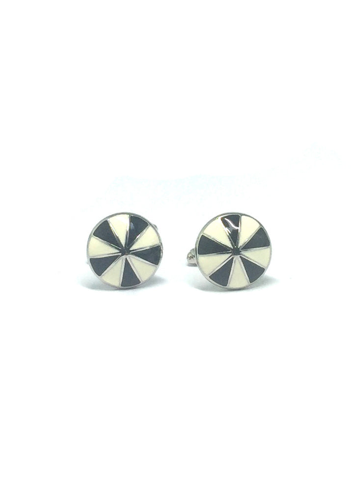 Black and White Patterned Round Cufflinks