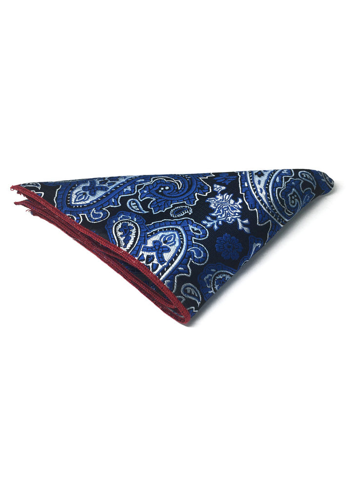 Taj Series Electric Blue Paisley Design Black Polyester Pocket Square