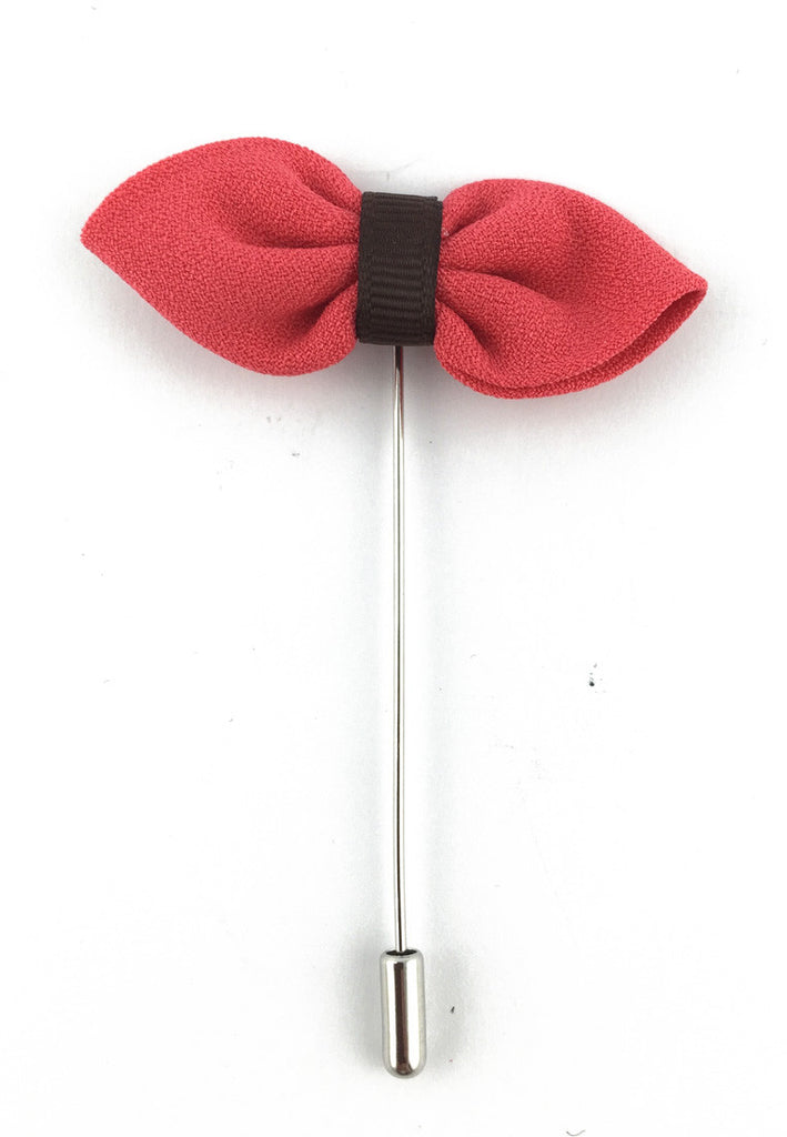 Magenta Fabric Bow Lapel Pin