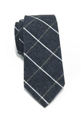 Daffy Series Blueish Grey Checked Skinny Viscose Tie