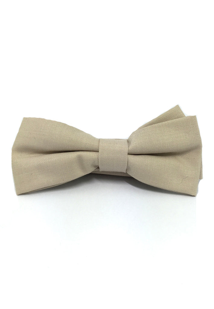 Lucid Series Beige Polyester Fabric Bow Tie