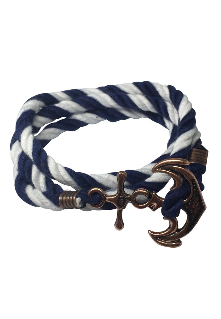 Kedge Series Blue and White thick Nylon Strap New Brass Anchor Design Bracelet