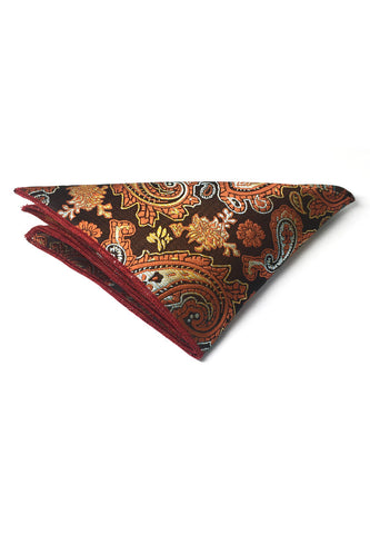 Taj Series Orange Gold Paisley Design Black Polyester Pocket Square