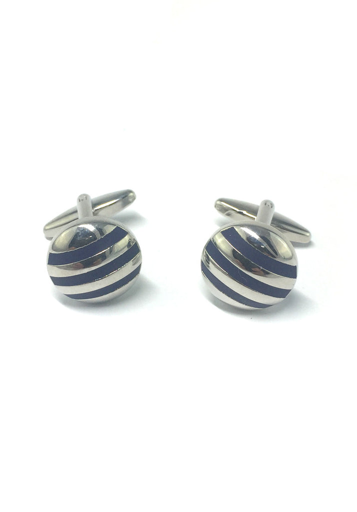 3 Blue Stripes Round Cufflinks