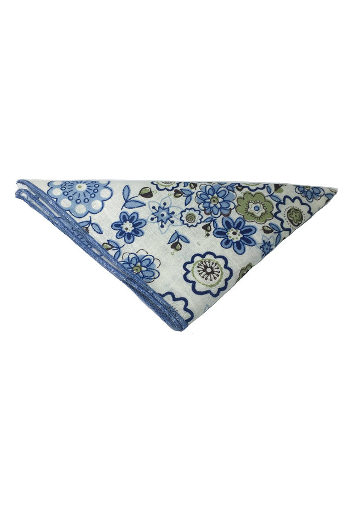 Posy Series Blue Floral Pattern White Cotton Pocket Square