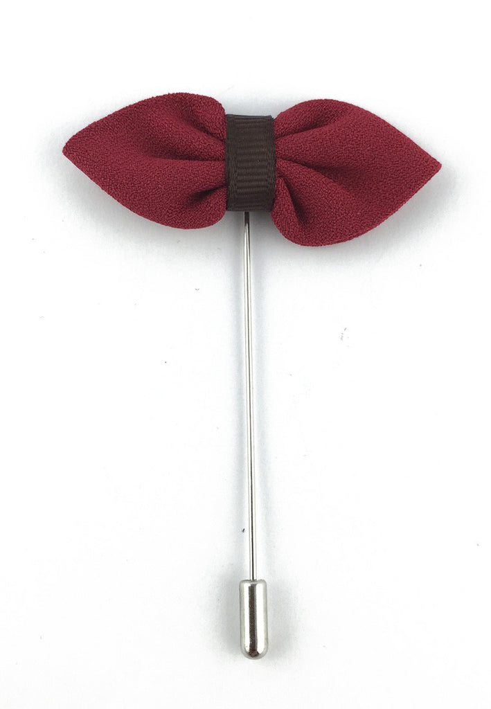 Cherry Red Fabric Bow Lapel Pin
