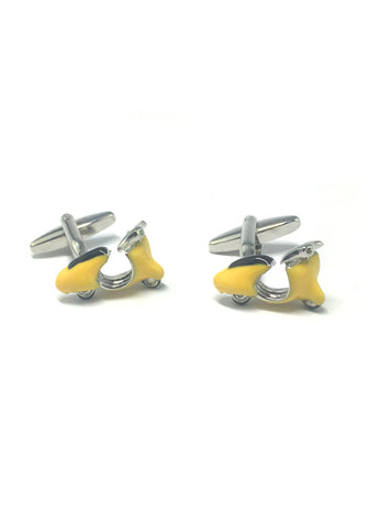 Yellow Vintage Scooter Cufflinks