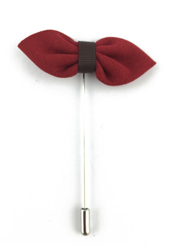 Red Fabric Bow Lapel Pin