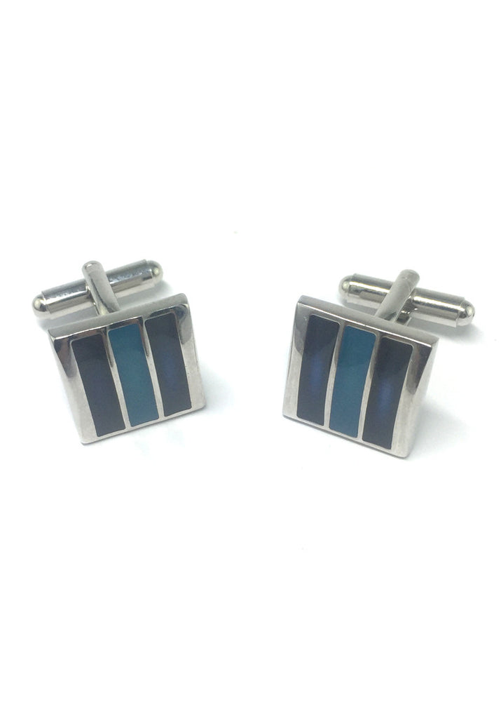 Dark Blue and Blue 3 Sections Square Cufflinks