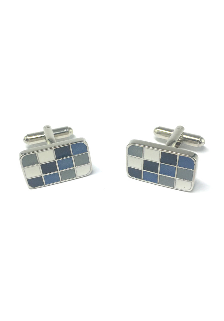 Blue, Grey and White Squares Rectangular Cufflinks