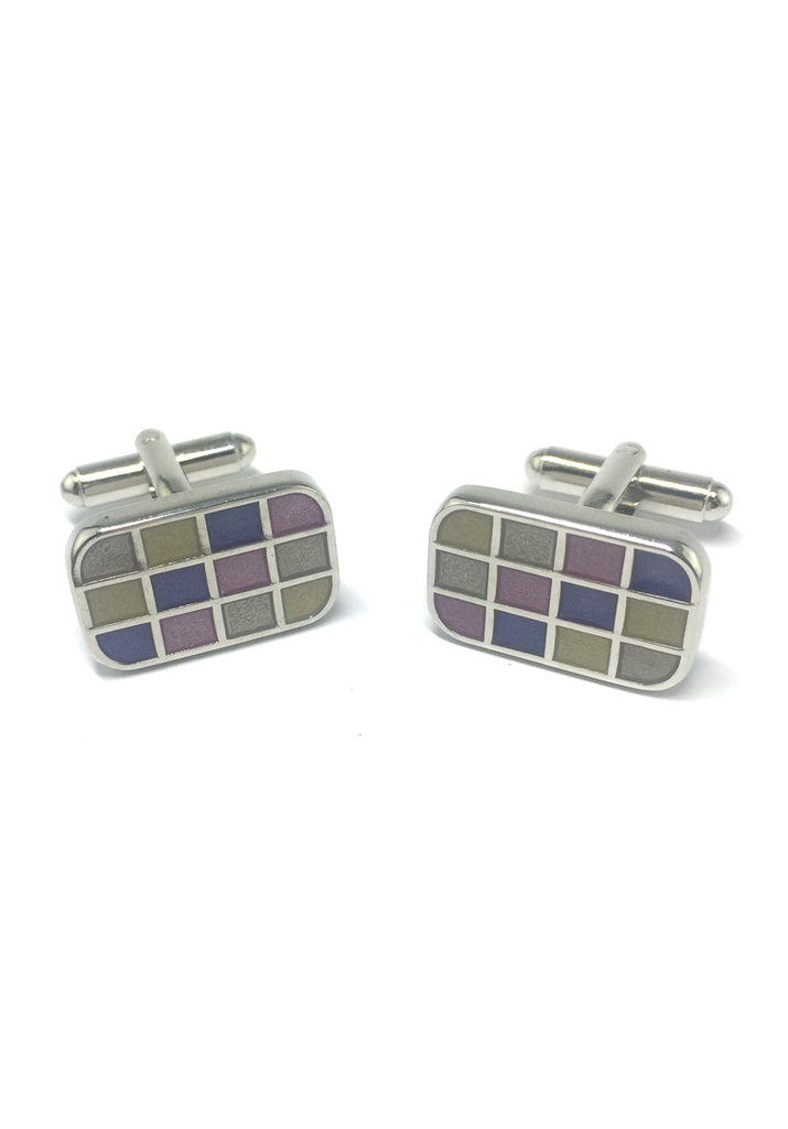 Purple, Grey and Yellow Squares Rectangular Cufflinks