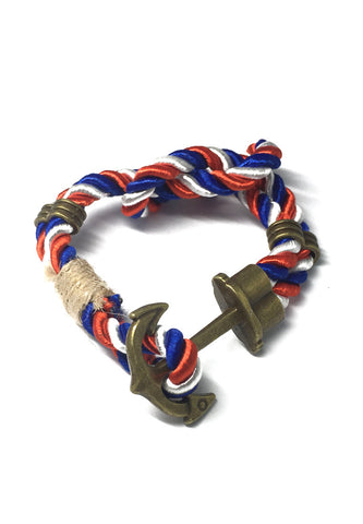 Kedge Series Blue, Red and White thick Polyester Strap New Brass Anchor Design Bracelet