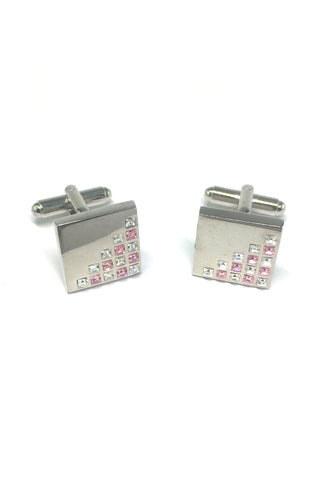 White and Pink Crystals Patterned Square Cufflinks