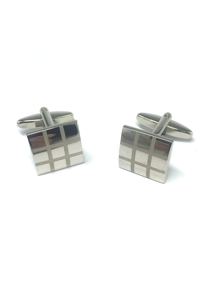 Silver Checked Square Cufflinks