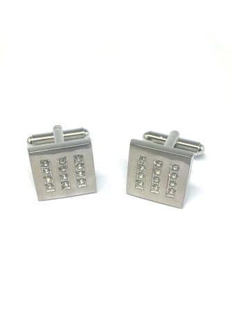 White Crystals Striped Square Cufflinks