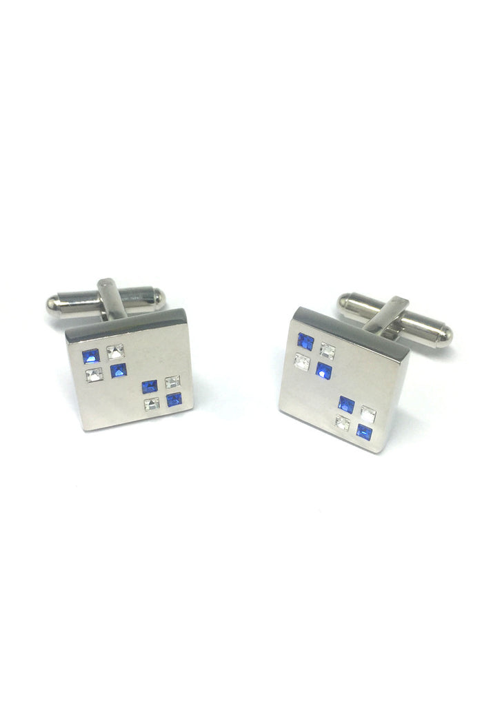 Blue and White Small Crystals Square Cufflinks