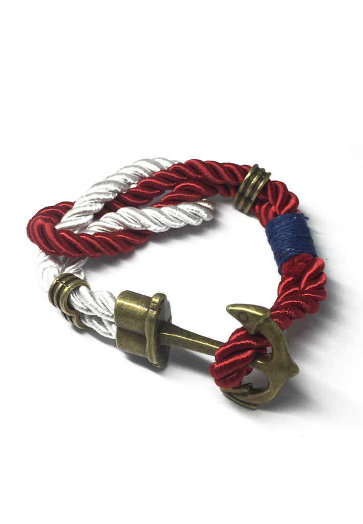 Kedge Series Dark Red and White thick Polyester Strap New Brass Anchor Design Bracelet