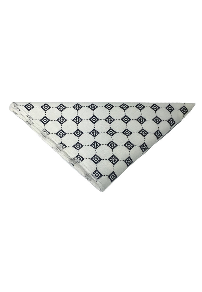 Posy Series Black Checked Pattern White Cotton Pocket Square