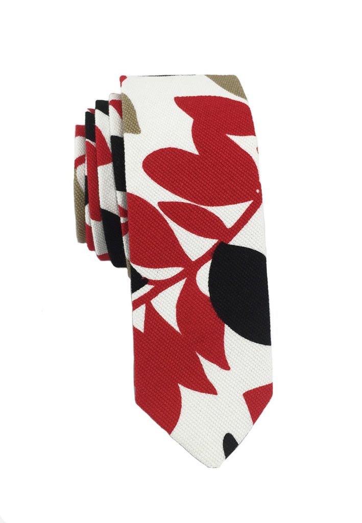 Potpurri Series Plant Design Red White & Black Cotton Tie