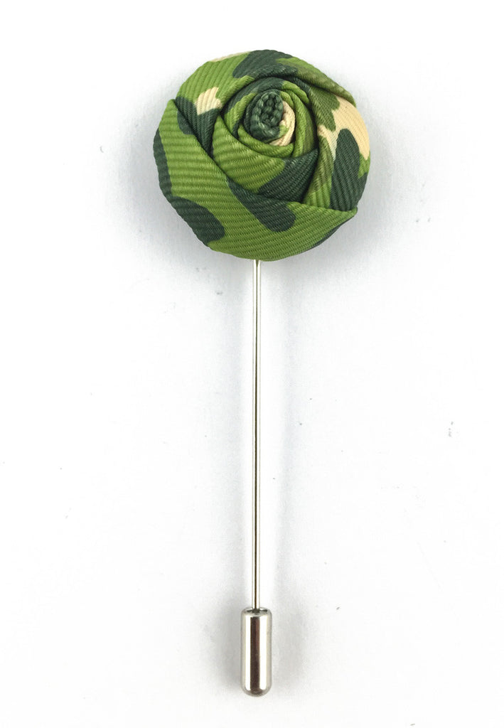 Green Camouflage Design Fabric Rose Groom Lapel Pin