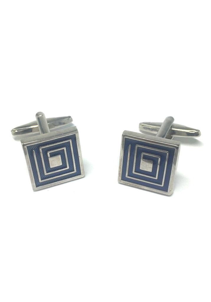 Blue Maze Pattern Square Cufflinks