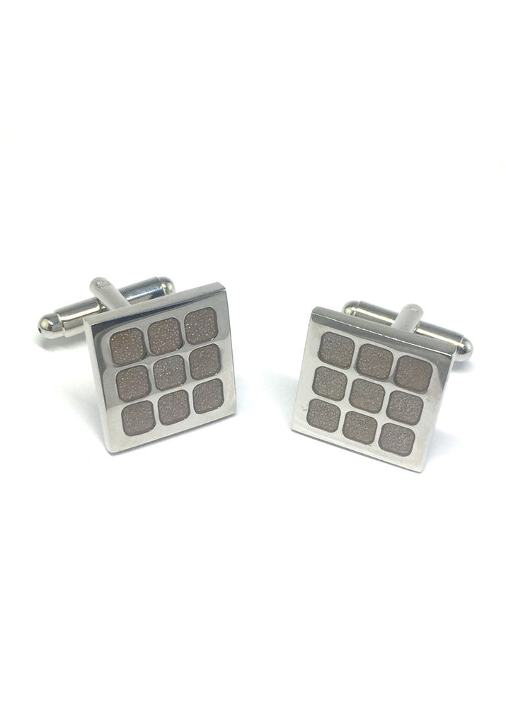 Brownish Square Pattern Square Cufflinks