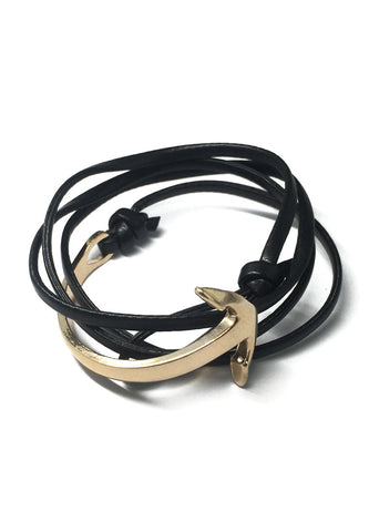Hyperbola Series Black Leather Strap Gold Curved Anchor Bracelet