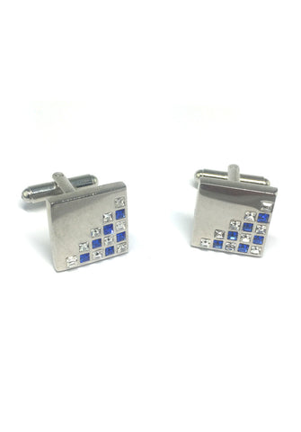 White and Blue Crystals Patterned Square Cufflinks