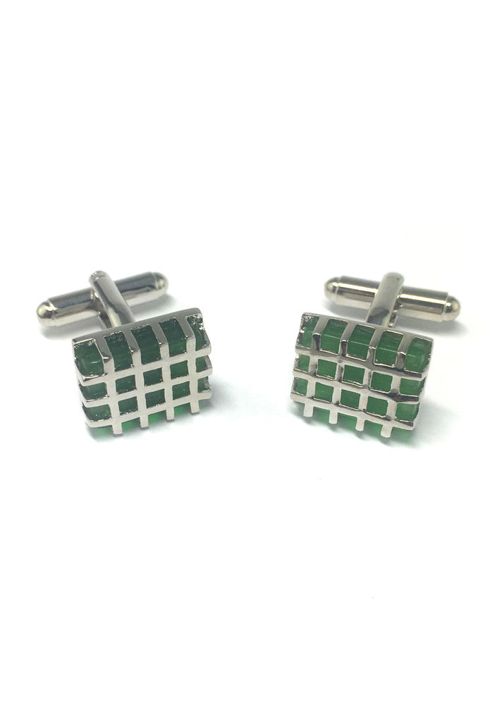 Honeycomb Green Crystal Cufflinks