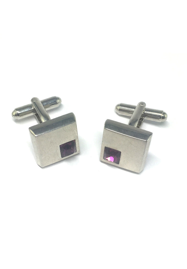 Purple Crystals Inserts Square Cufflinks