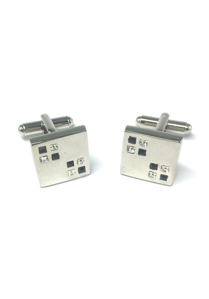 Black and White Small Crystals Square Cufflinks