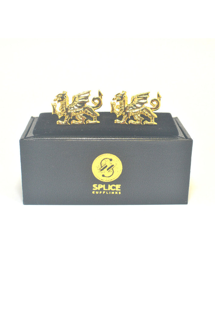 Gold Plated Welsh Dragon Cufflinks
