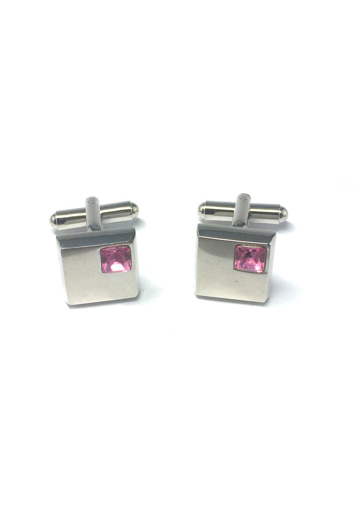 Pink Crystals Inserts Square Cufflinks