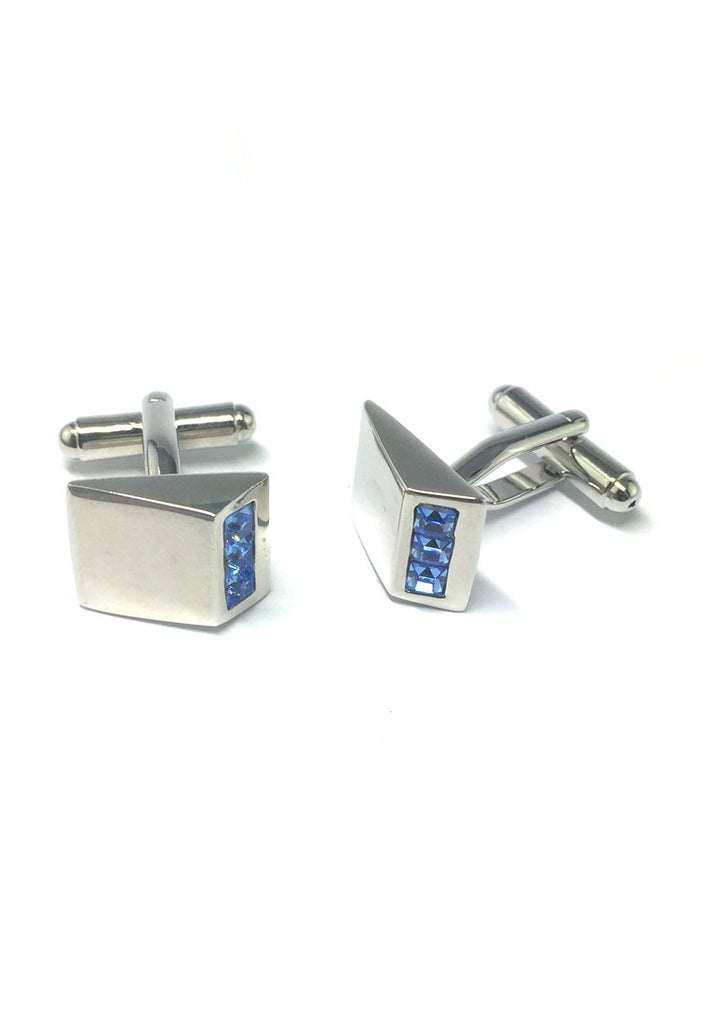 Blue Crystals Triangular Cufflinks