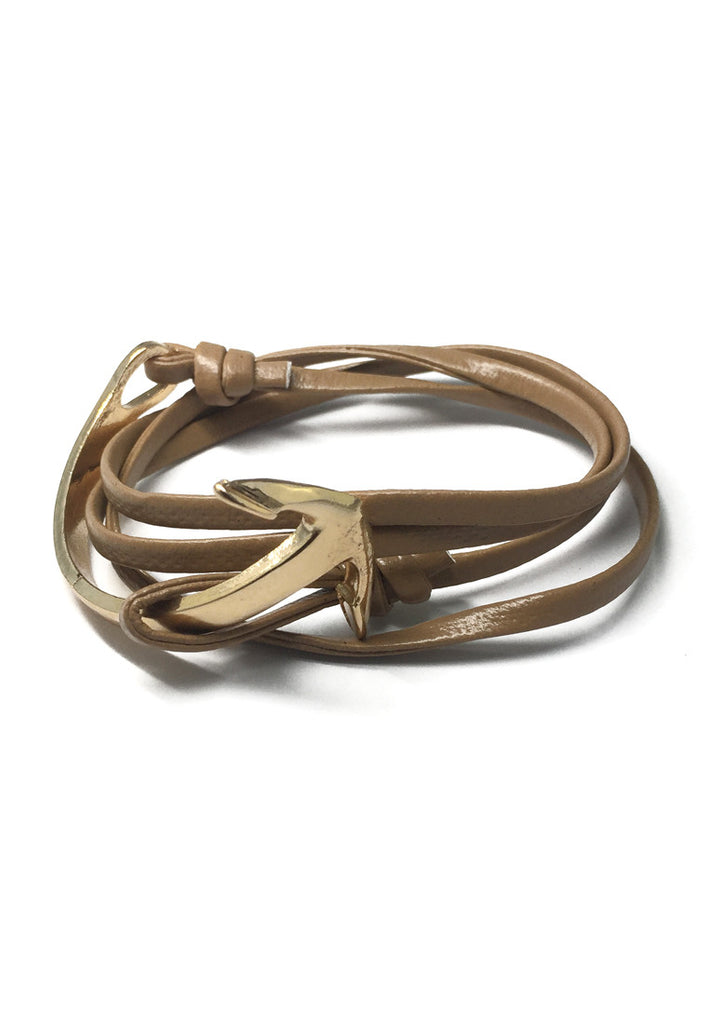Hyperbola Series Light Brown Leather Strap Gold Curved Anchor Bracelet