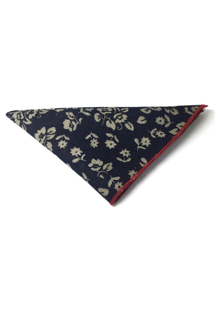 Posy Series Beige Floral Pattern Navy Blue Cotton Pocket Square