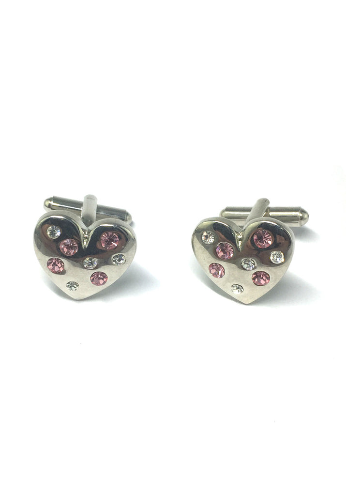 Silver Heart with Crystals Cufflinks