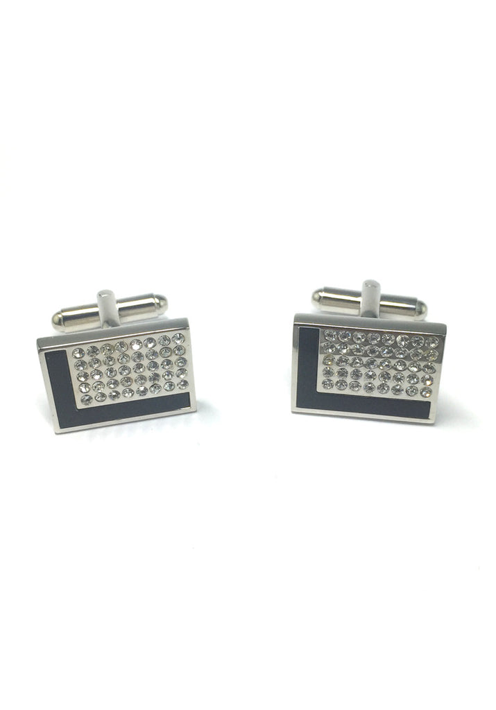 Black L Design and Crystals Rectangular Cufflinks