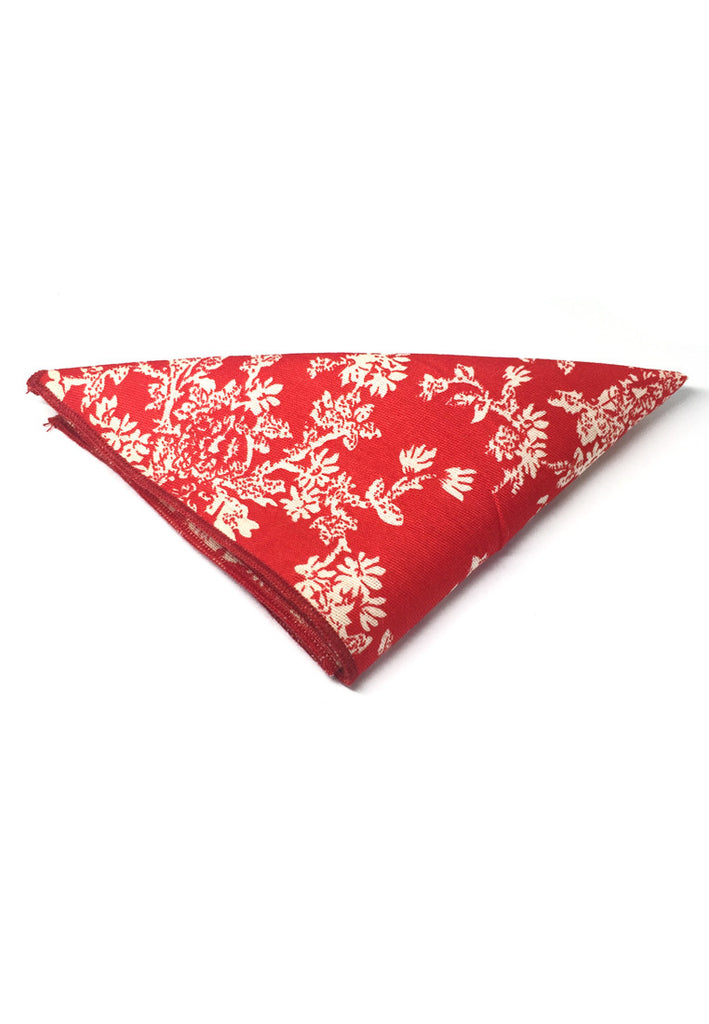 Posy Series Brown Floral Pattern Bright Red Cotton Pocket Square