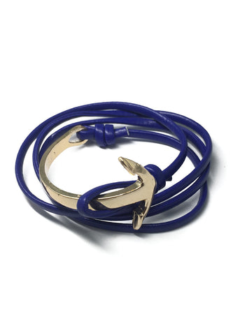Hyperbola Series Blue Leather Strap Gold Curved Anchor Bracelet