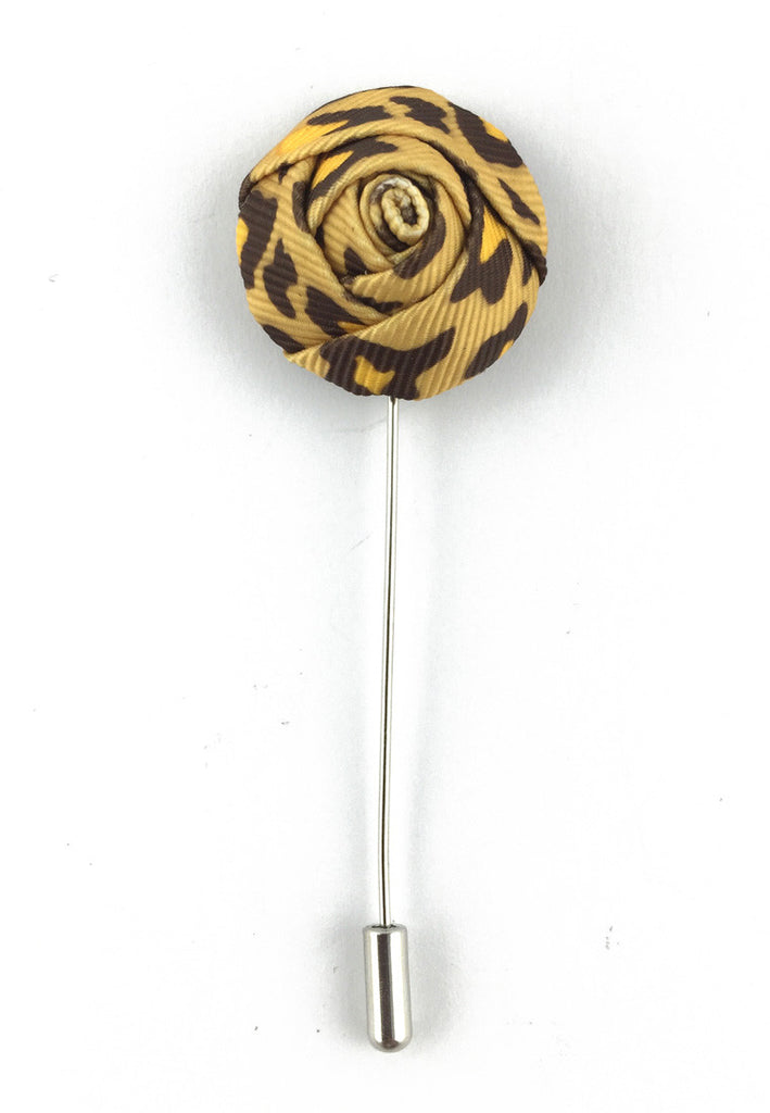 Brown Leopard Prints Fabric Rose Groom Lapel Pin