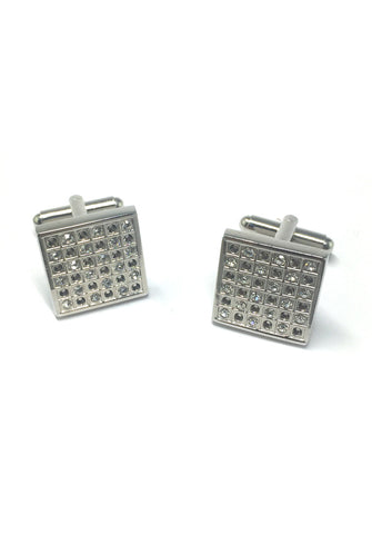 White Crystals Square Cufflinks
