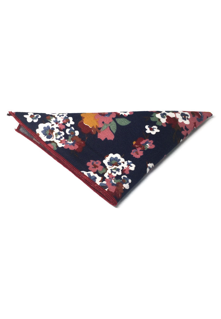 Posy Series Colourful Floral Pattern Navy Blue Cotton Pocket Square