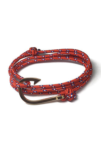 Angle Series Blue and White Spots Red Polyester Strap Gold Fishing Hook Bracelet