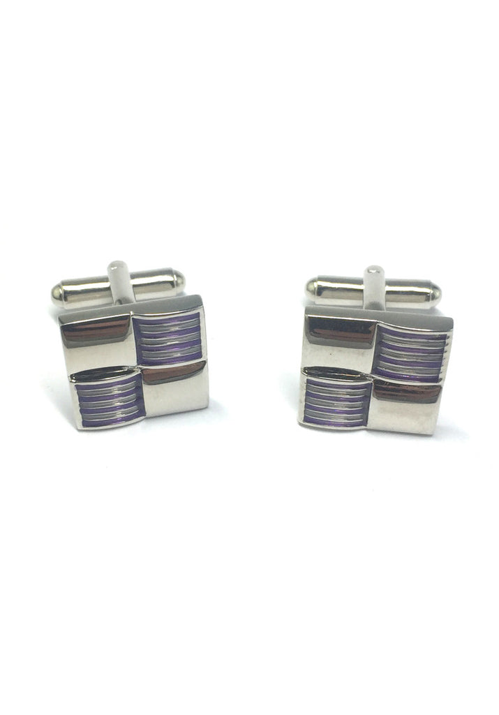 Purple Stripes 3D Square Cufflinks